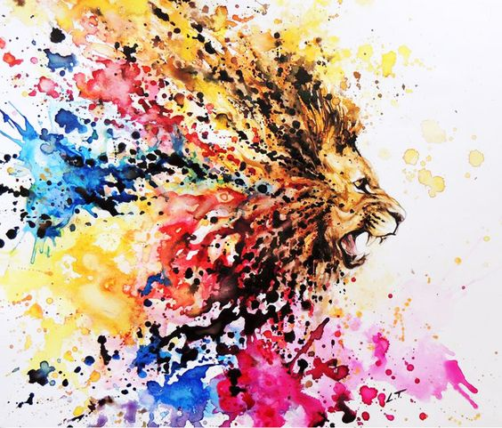 Exiting watercolor screaming lion head in splaches tattoo design