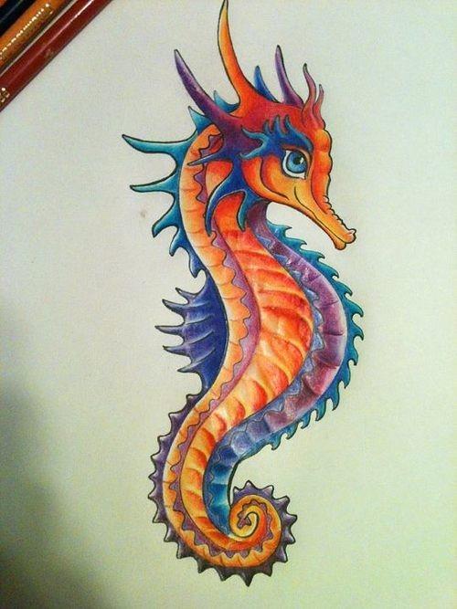 Fabulous colorful seahorse dragon tattoo design