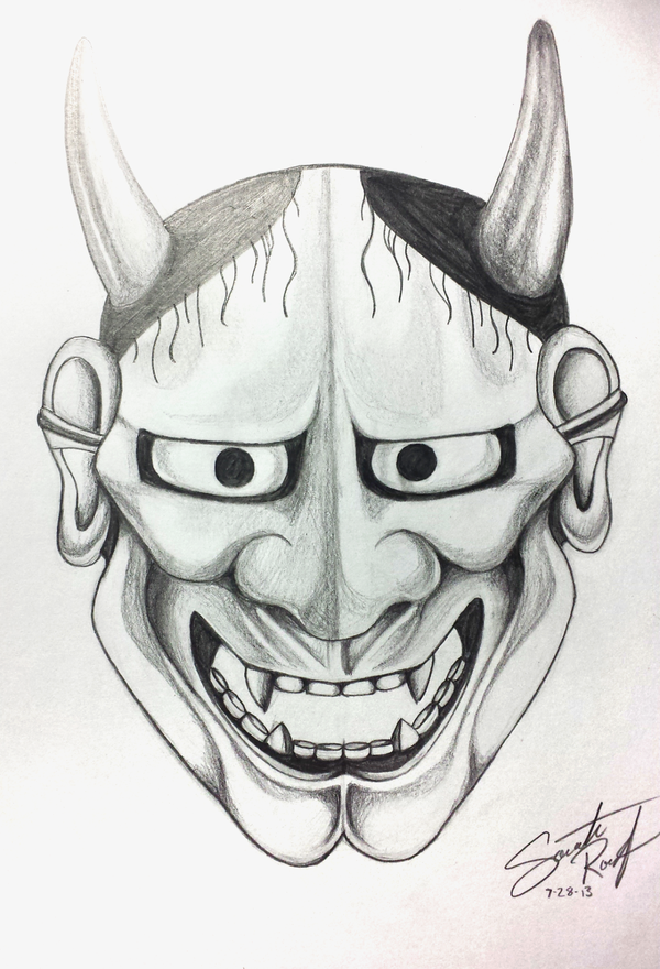 Fabulous grey-ink japanese devil face tattoo design by Samsonite2