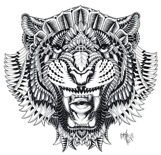 Fabulous grey-ink rich decorated jaguar face tattoo design