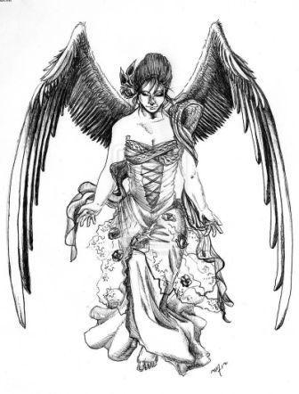 Fabulous woman angel in a beautiful dress tattoo design