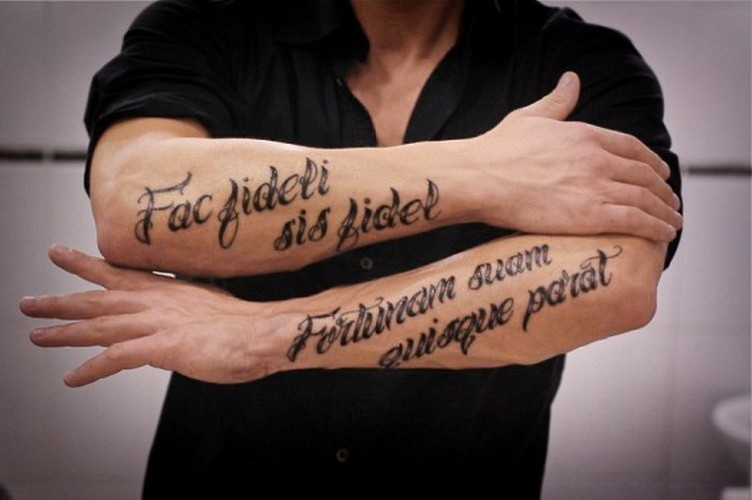 Fac fideli sis fidel, fortunam suam quisque parat latin quote tattoo on both arms