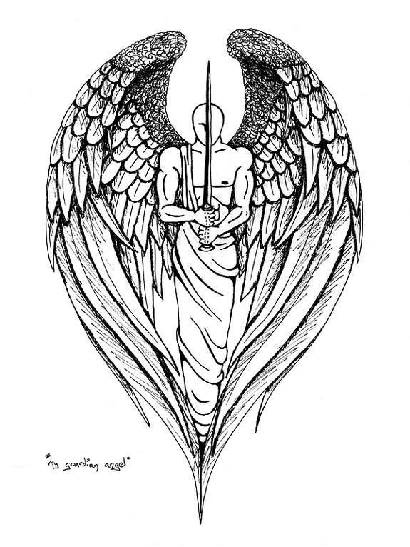 Faceless angel warrior with a sword tattoo design