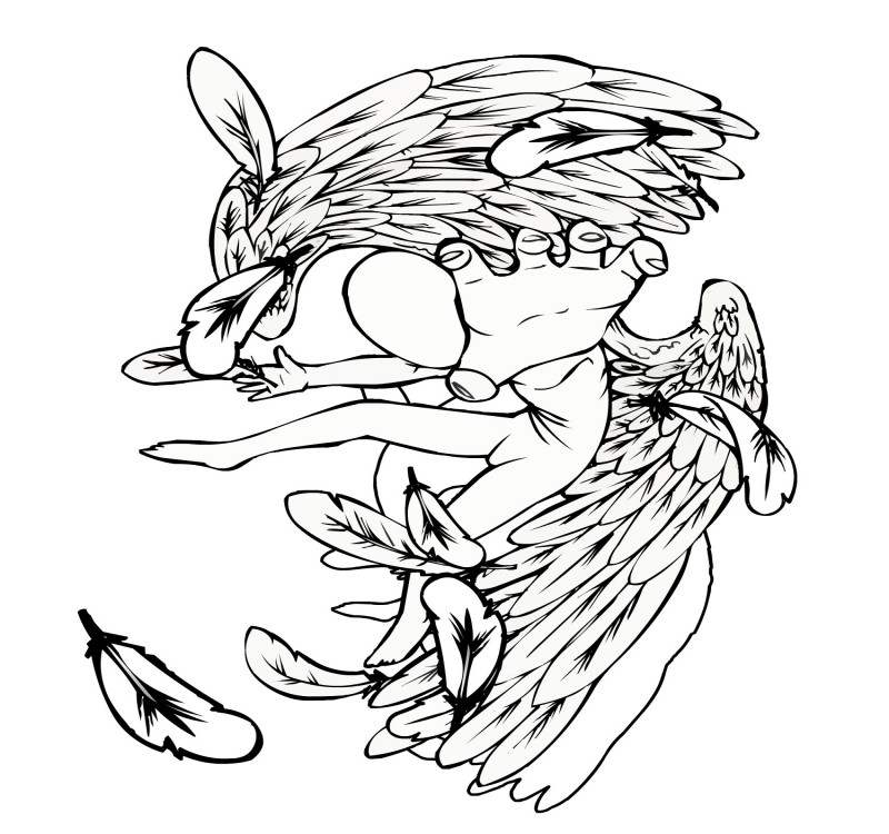 Faceless falling angel without coloring tattoo design