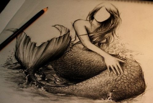 Faceless mermaid with huge scaled tail tattoo design