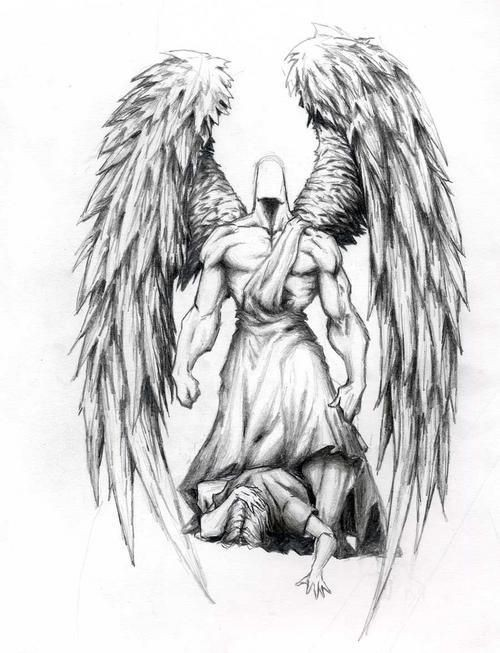 Faceless muscular angel standing over a sinner tattoo design