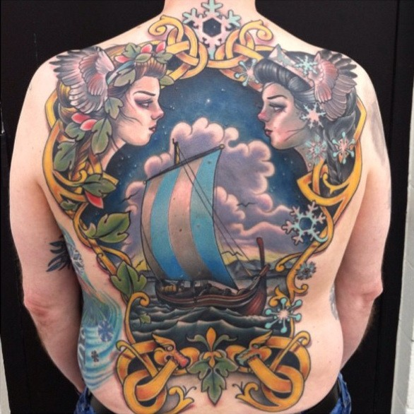 Fairy Viking ship with patterns tattoo on back