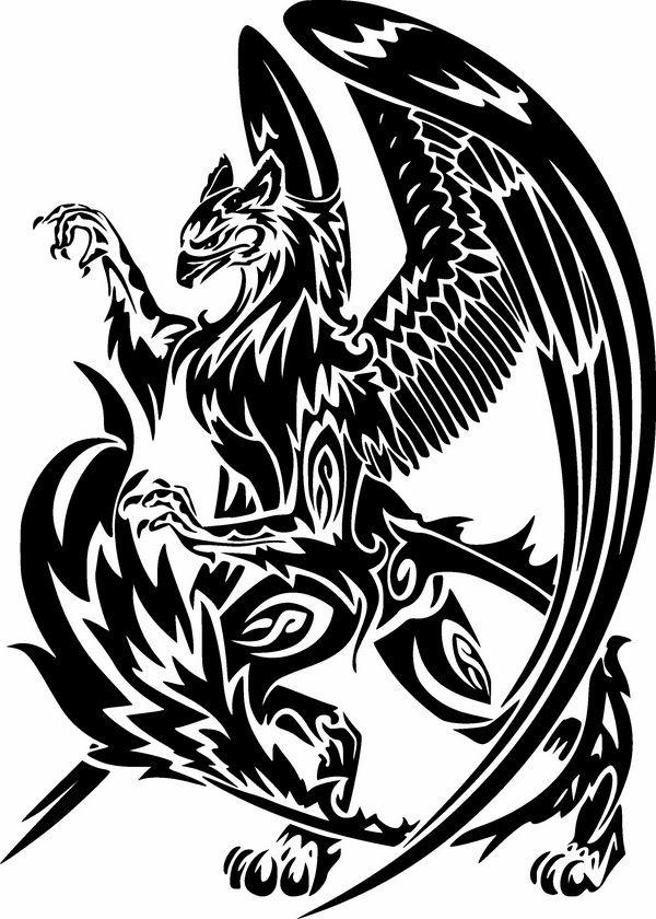 Fairy black-ink tribal griffin playing with his fluffy tail tattoo design