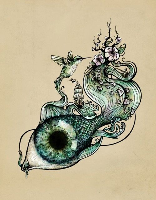 Fairy eyed fish with blossom tail and small hummingbird tattoo design