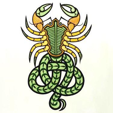 Fairy green-and-yellow scorpion tattoo design