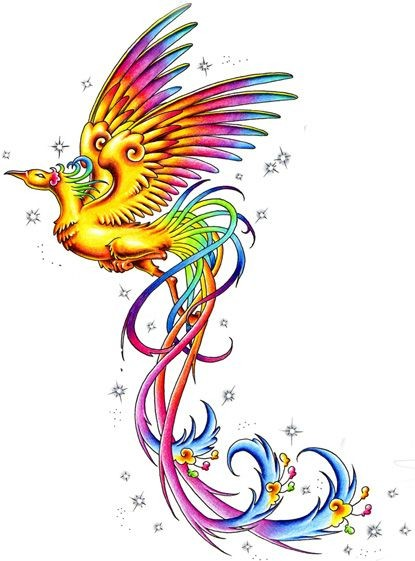Fairy multicolor flying phoenix tattoo design