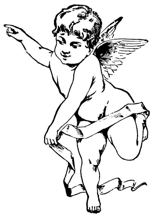 Fairy outline cherub angel with a long stripe tattoo design