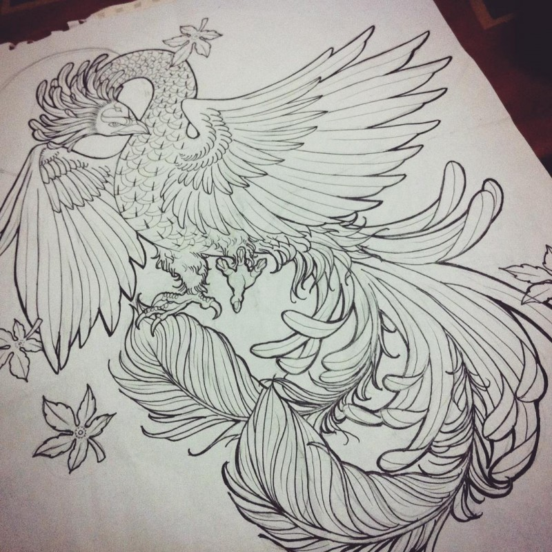 Fairy uncolored phoenix with falling maple leaves tattoo design