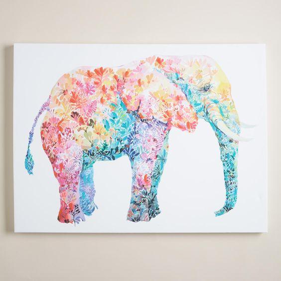 Fairy vivid-color floral elephant tattoo design