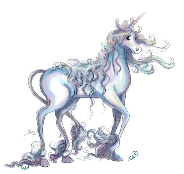 Fairy white unicorn with long curly mane tattoo design