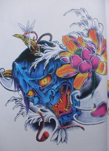 Falling blue devil head and beautiful flower tattoo design