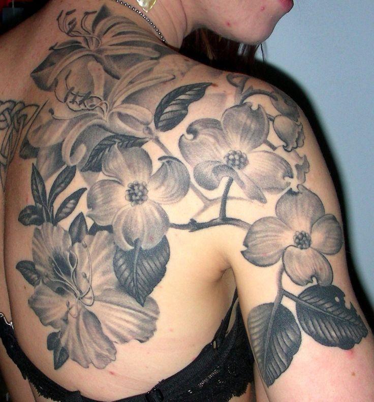 Fantastic black and white dogwood flower tattoo on back fantastic black and white dogwood flower tattoo on back mightylinksfo