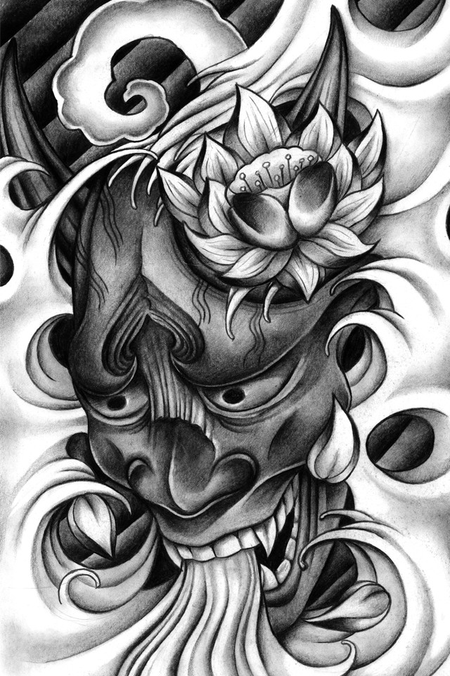 Fantastic black-and-white japanese devil and lotus flower tattoo design