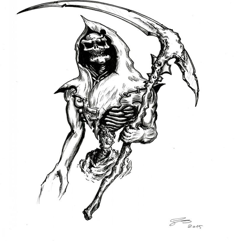 Fantastic black-ink death zombie tattoo design