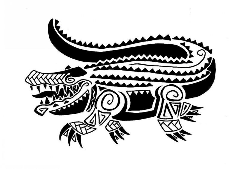 Fantastic black-ink ornate reptile tattoo design