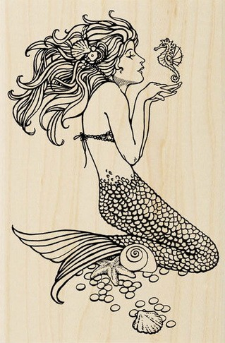 Fantastic black-ink sitting mermaid playing with little seahorse tattoo design
