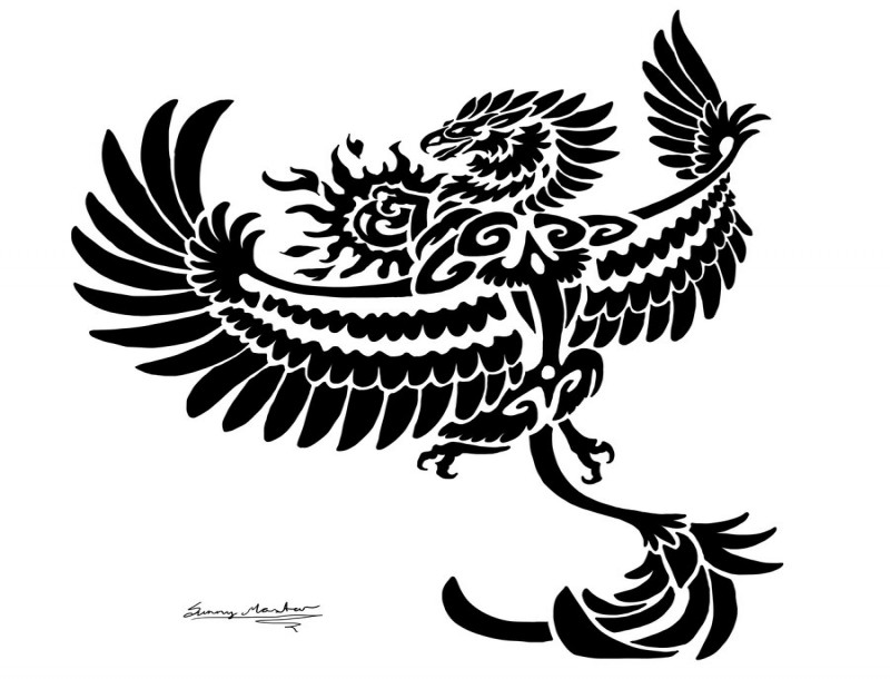 Fantastic black tribal griffin flying to the sun tattoo design by Sunimo