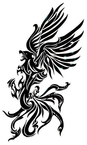 Fantastic black tribal griffin tattoo design