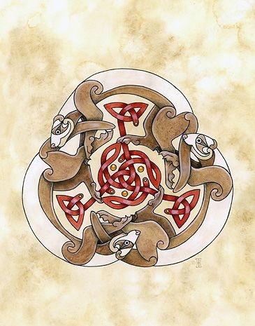 Fantastic colorful celtic rodent emblem tattoo design