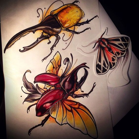 Fantastic colorful horned bugs ready to fly tattoo design