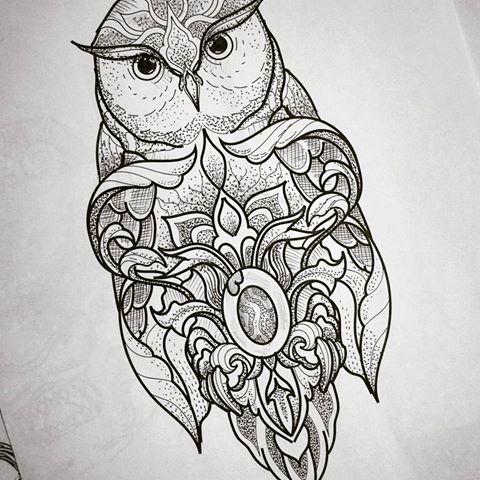 Fantastic detailed dotwork owl tattoo design