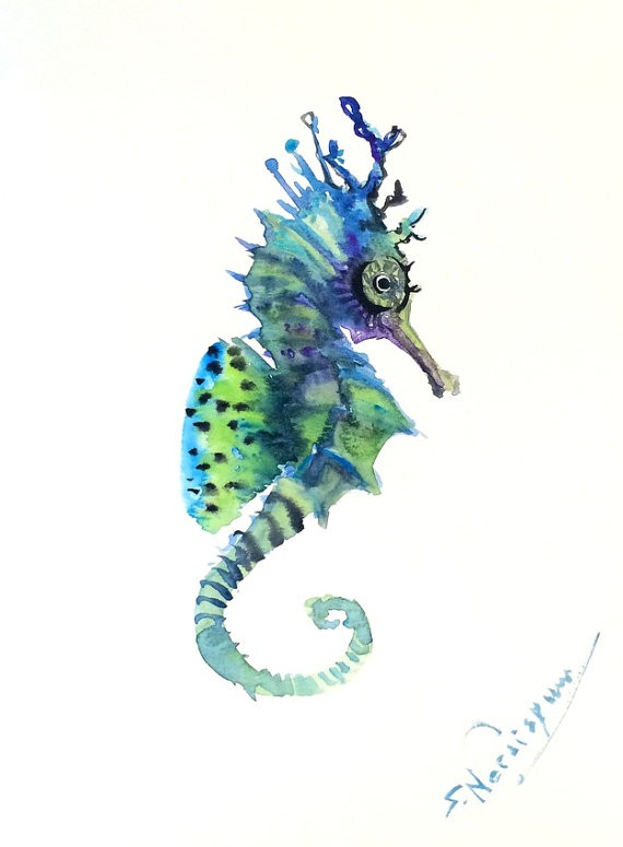 Fantastic green-and-blue seahorse with hige eyes tattoo design