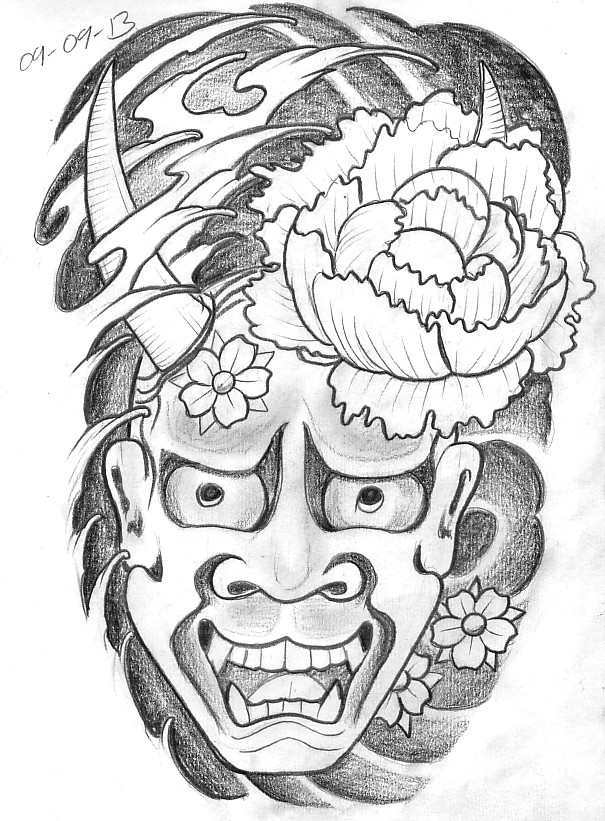 Fantastic grey-ink devil face under big peony bud tattoo design