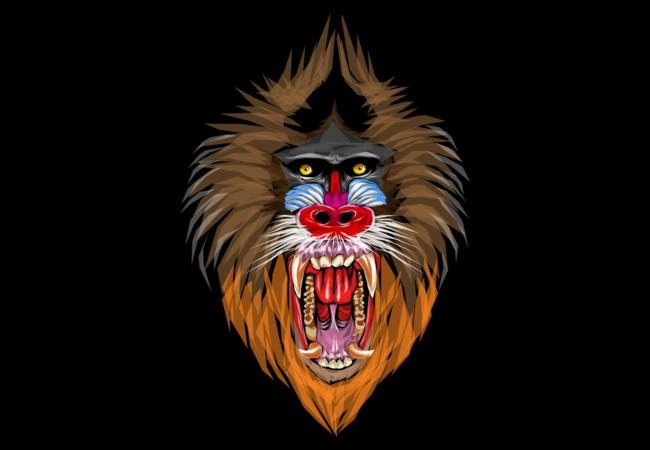 Fantastic multicolor screaming baboon face tattoo design