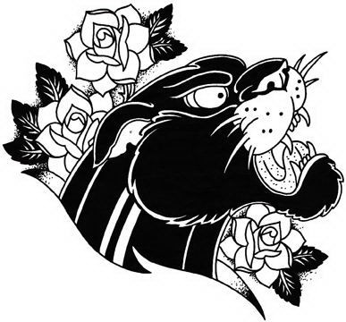 Fantastic old school panther head and beautiful roses tattoo design