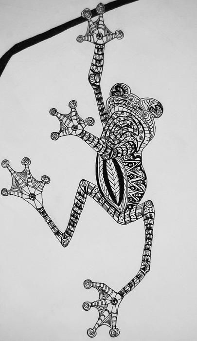 Fantastic ornamented frog ready to fall fron tree branch tattoo design