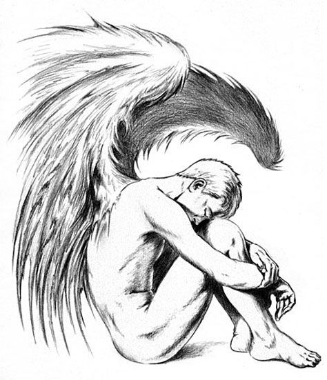 Fantastic pencilwork sitting naked male angel tattoo design