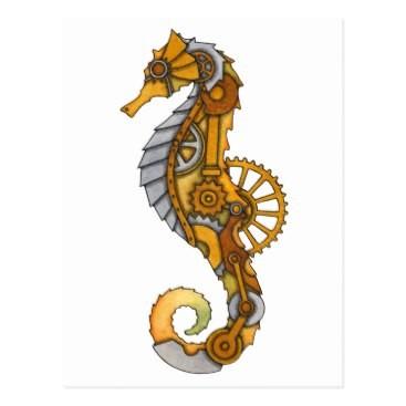 Fantastic steampunk seahorse in orange coloring tattoo design