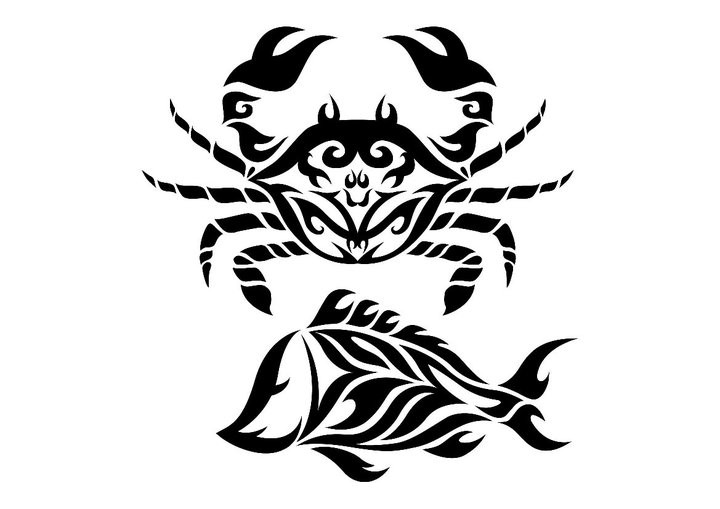 Fantastic tribal crab and fish tatto design by Micma