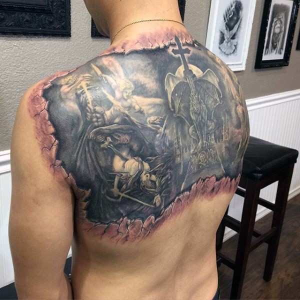 Fantastic under skin like upper back tattoo of angel and demons fight