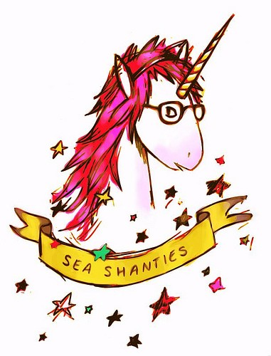 Fantastic unicorn head in glasses with yellow banner and stars tattoo design