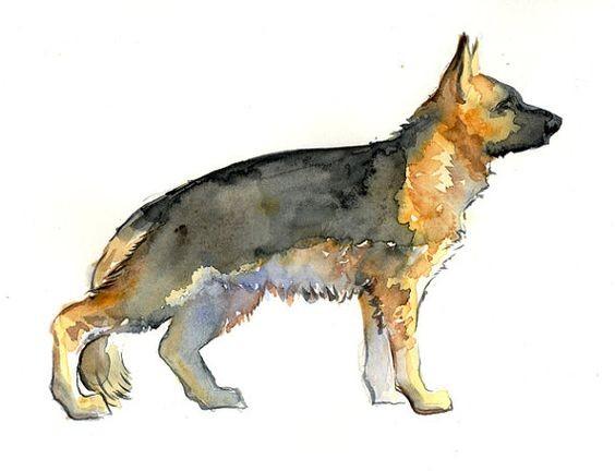 Fantastic watercolor standing german shepherd tattoo design