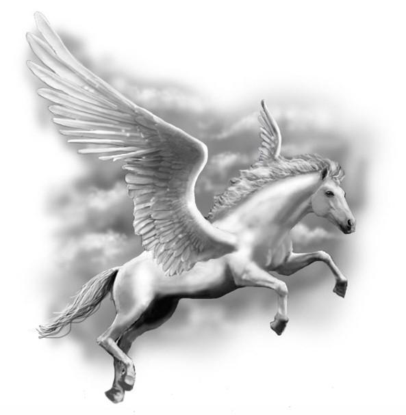Fantastic white flying pegasus on grey sky background tattoo design