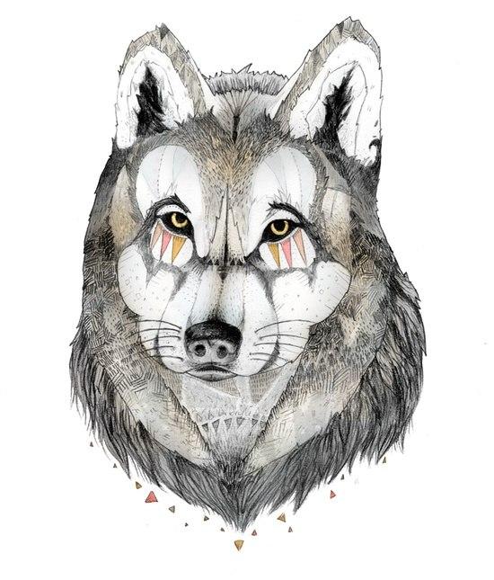 Fantastic wolf portrait with gemetric pattern tattoo design
