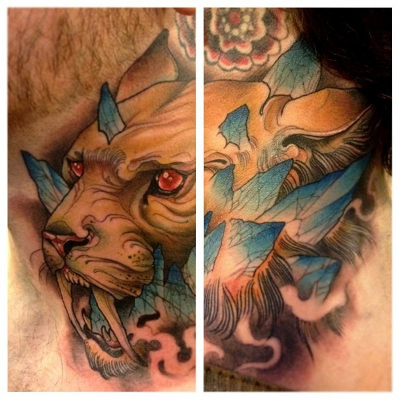 Fantasy world like big demonic ancient animal tattoo on neck