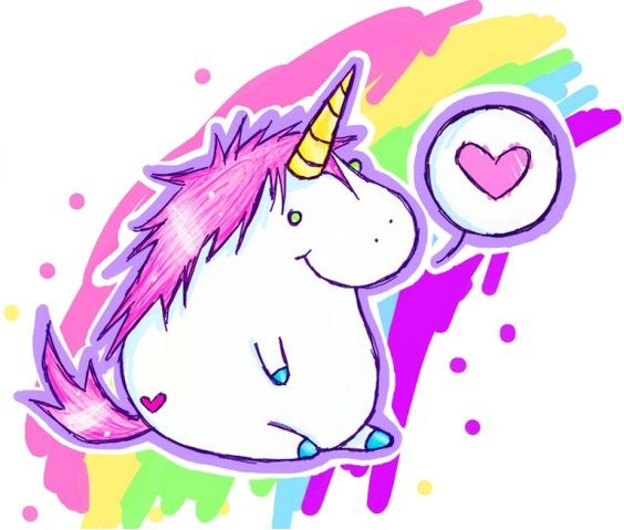 Fat cartoon unicorn wanting to get love on rainbow background tattoo design