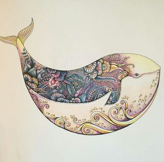 Fat colorful floral whale tattoo design