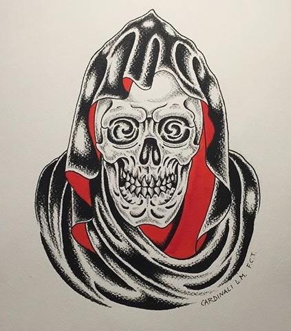 Fine black-and-red death portrait tattoo design