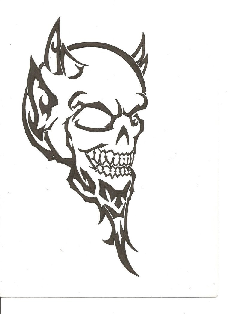 Fine black-ink tribal devil skull tattoo design by The Fuzzy Dude