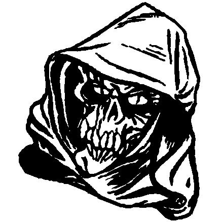 Fine black-line death with evil grin tattoo design
