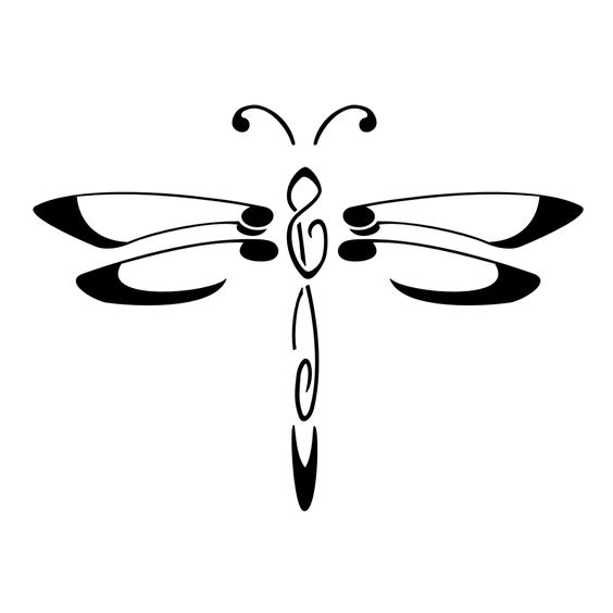 Fine black-line dragonfly tattoo design